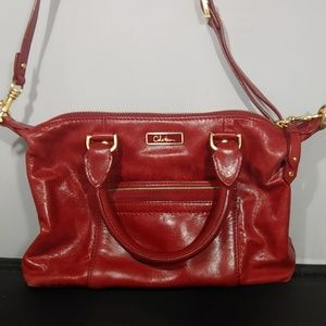Cole Haan red leather cross body hand bag purse